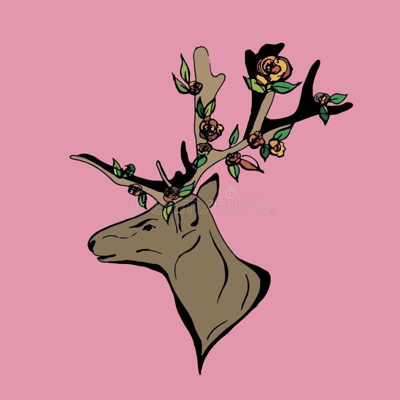 Cervos com grandes antlers ilustração do vetor