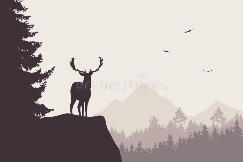 Cervos com os veados que estão na parte superior da rocha com montanhas e f ilustração stock