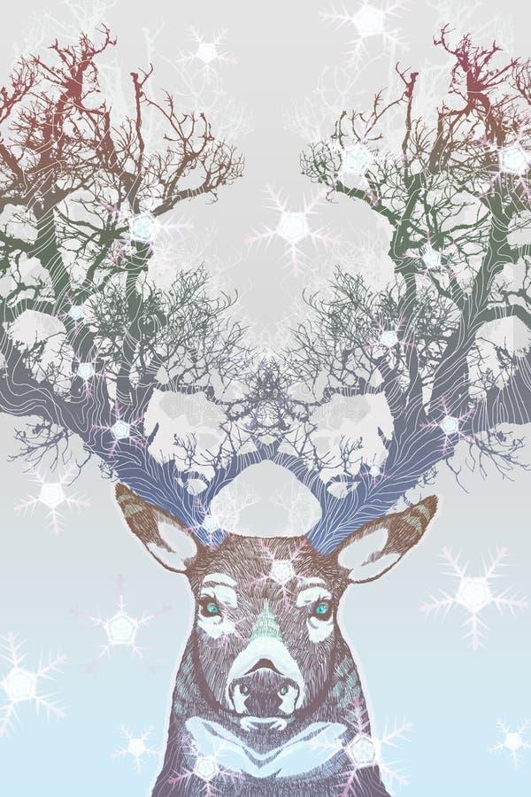 Cervos congelados ilustração do vetor