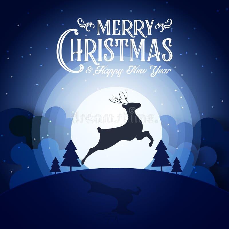 Cervos da silhueta do partido do ano do fim do festival da noite nevado do Feliz Natal e do ano novo feliz e decoração azul da ca ilustração royalty free