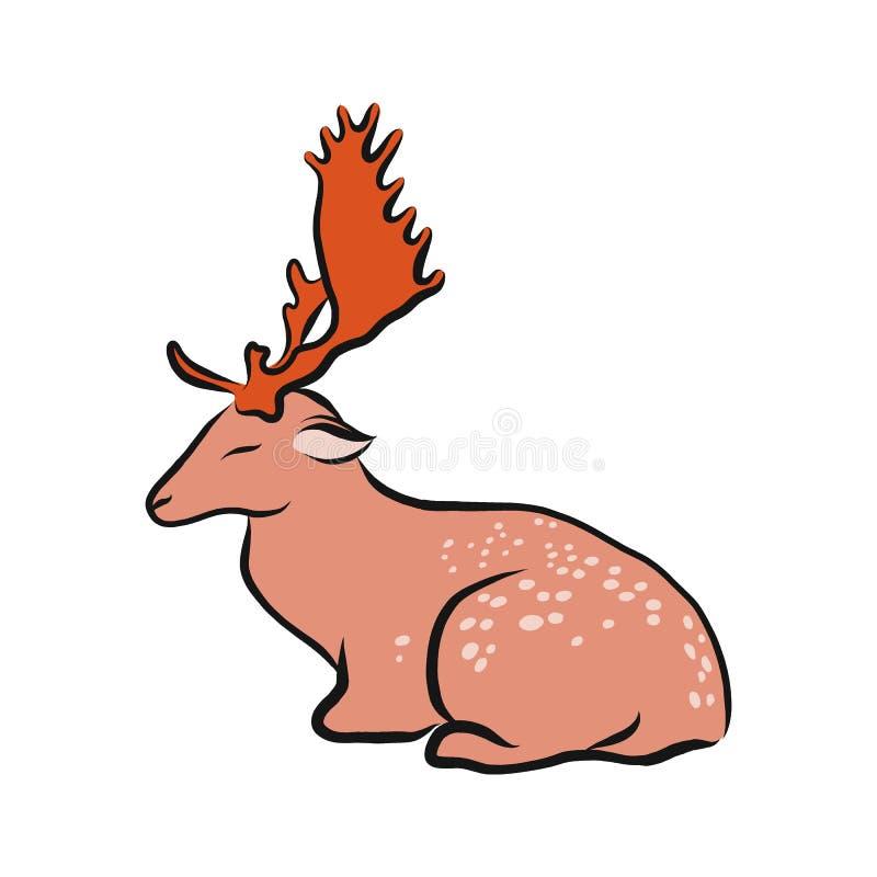 Cervos Dappled, ilustração do vetor do esboço da garatuja da cor, desenho animal tirado mão, isolado no branco ilustração do vetor