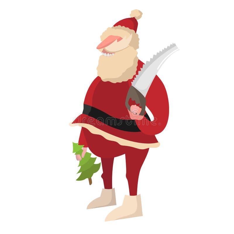 Cervos de Santa Claus Saint Nicholas do avô da arte do vetor do boneco de neve ilustração stock