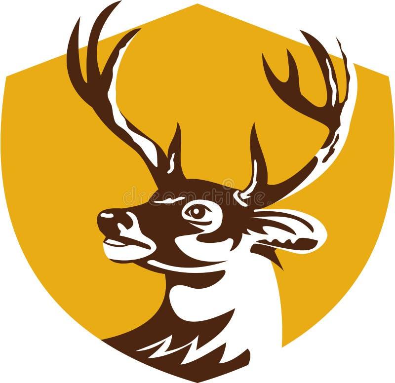 Cervos de Whitetail Buck Head Crest Retro ilustração stock