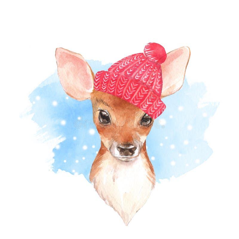Cervos do bebê, chapéu Jovem corça bonito tirada mão Ilustração da aguarela ilustração do vetor