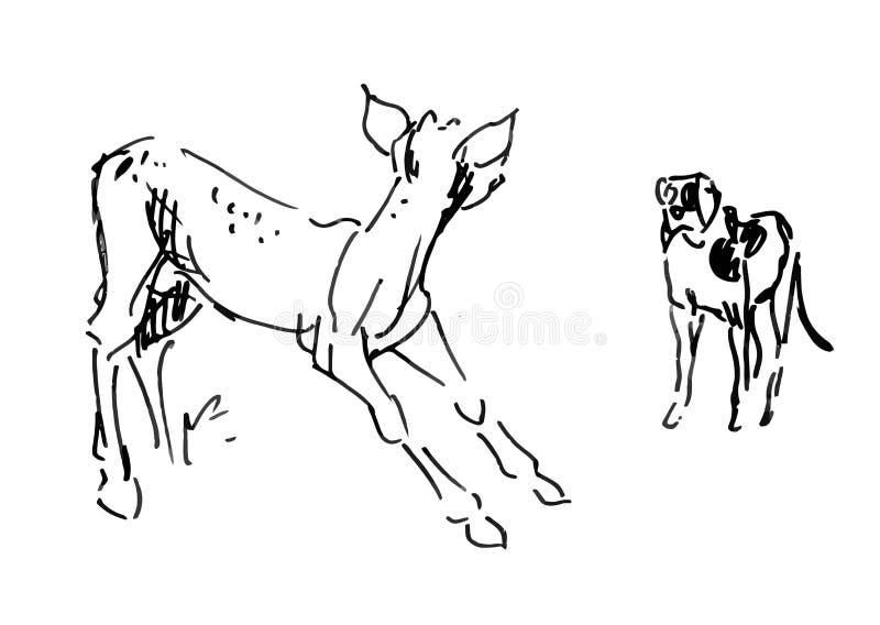 Cervos do bebê e cão pequeno ilustração stock