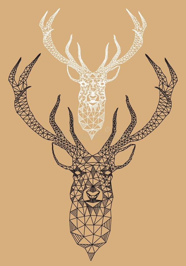 Cervos do Natal com teste padrão geométrico, vetor ilustração royalty free