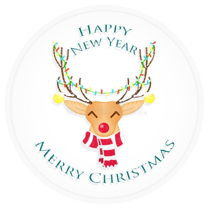 Cervos do Natal feliz Feliz Natal e ano novo feliz Ilustração do vetor imagens de stock