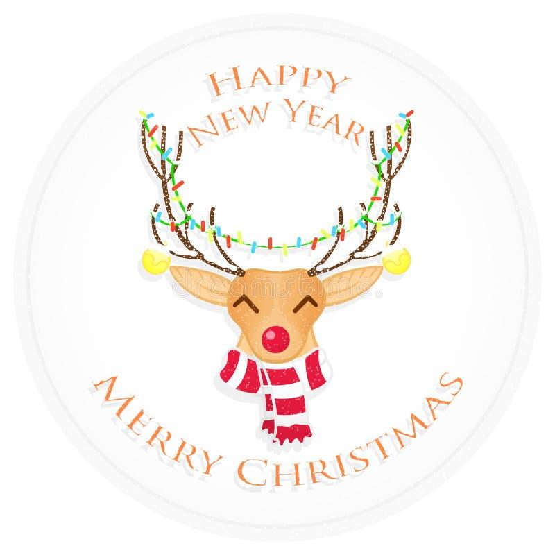 Cervos do Natal feliz Feliz Natal e ano novo feliz Ilustração do vetor fotografia de stock royalty free