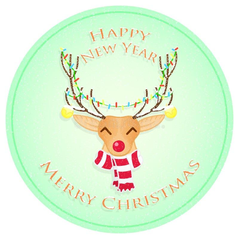 Cervos do Natal feliz Feliz Natal e ano novo feliz Ilustração do vetor foto de stock