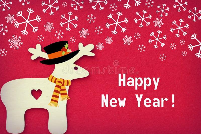 Cervos do Natal no fundo vermelho textured de flocos de neve de queda, espaço livre para o texto ilustração stock