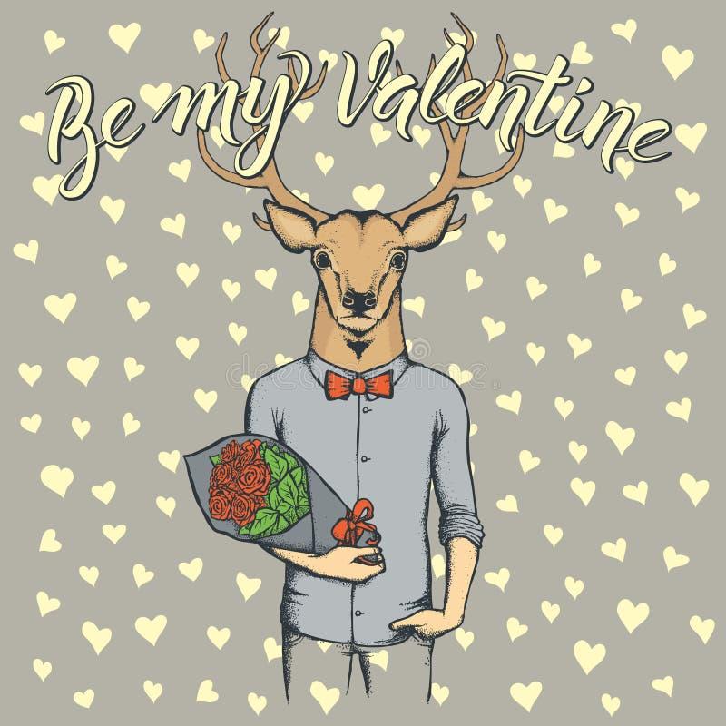 Cervos do vetor com flores que comemoram o dia de Valentim ilustração stock