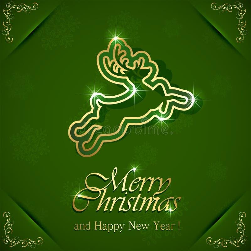 Cervos dourados do Natal ilustração do vetor
