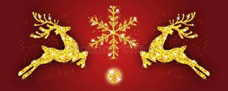 Cervos e floco de neve do ouro do teste padrão do Natal Decoração do Xmas com rena Fundo do vermelho do ano novo feliz Molde para ilustração royalty free