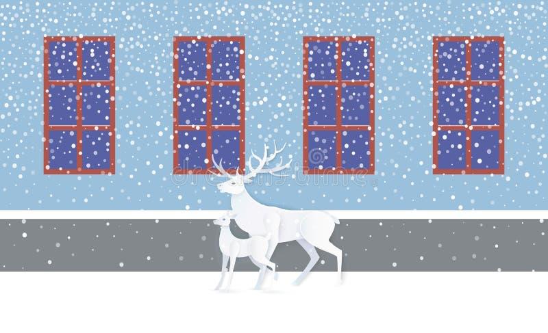 Cervos e jovem corça perto da parede com Windows, vetor da neve ilustração stock