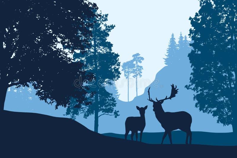 Cervos e posição traseiro entre árvores na paisagem com monte abaixo ilustração do vetor