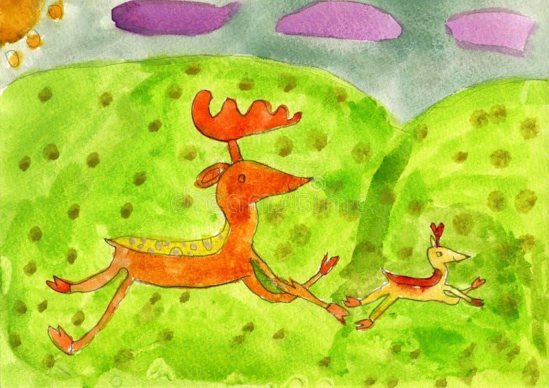 Cervos e seu corredor do bebê dos cervos ilustração stock