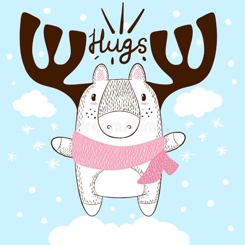 Cervos engraçados da tração da mão Abraços e amor ilustração royalty free