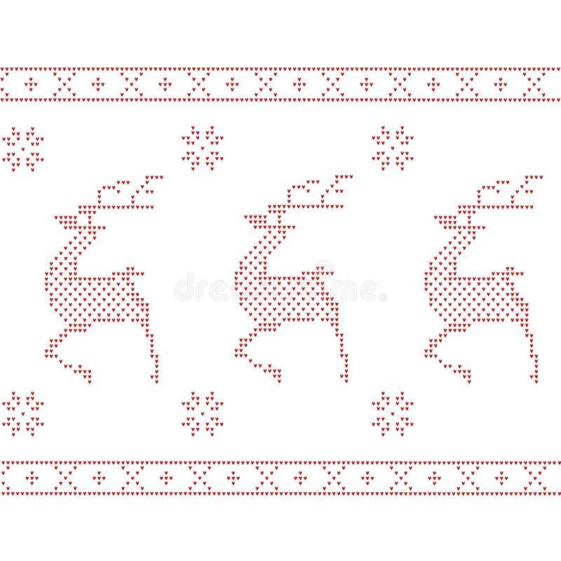 Cervos feitos malha do Natal fotos de stock