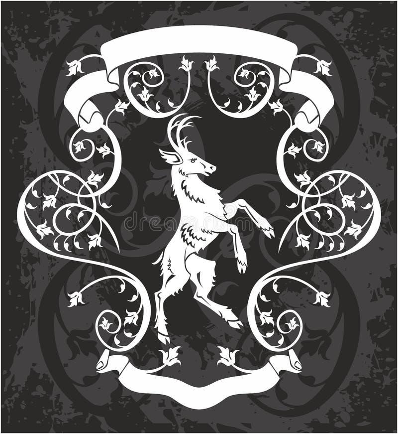 Cervos heráldicos em um quadro ilustração royalty free