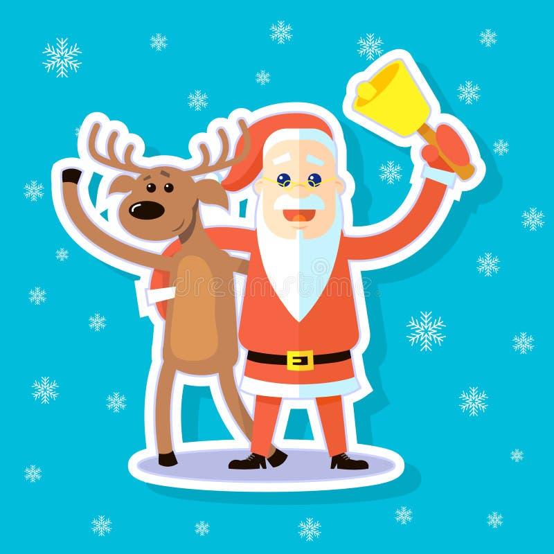 Cervos lisos da ilustração da arte da etiqueta dos desenhos animados e aperto de Santa Claus ilustração do vetor