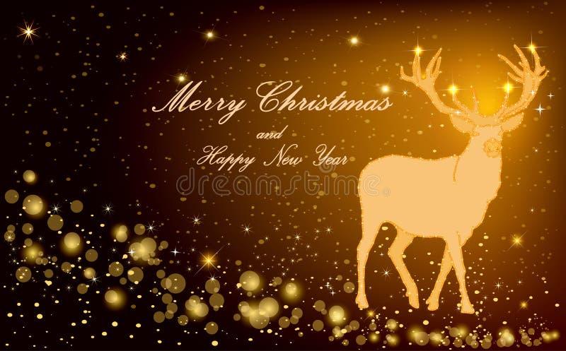 Cervos mágicos do Natal - beleza conservada em estoque da decoração da arte ilustração do vetor