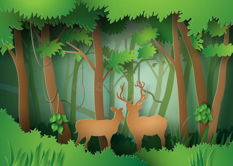 Cervos na floresta ilustração stock