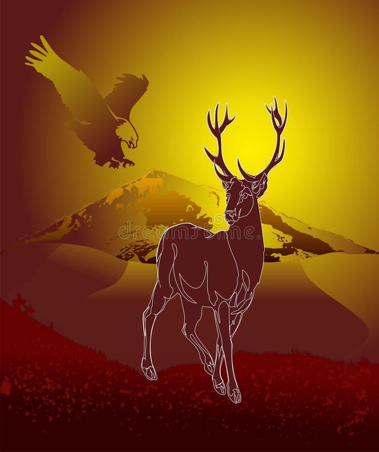 Cervos na natureza ilustração royalty free