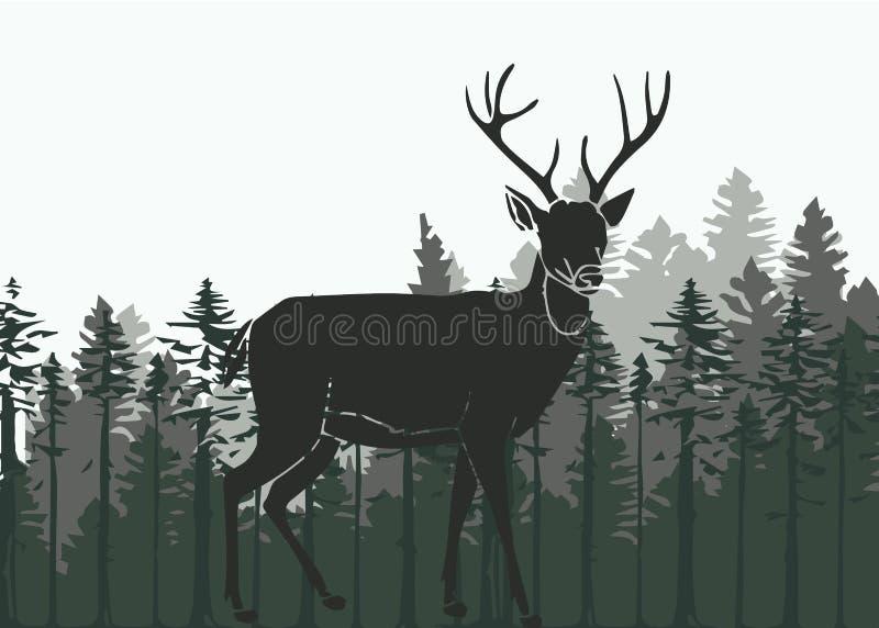 Cervos nas madeiras ilustração do vetor