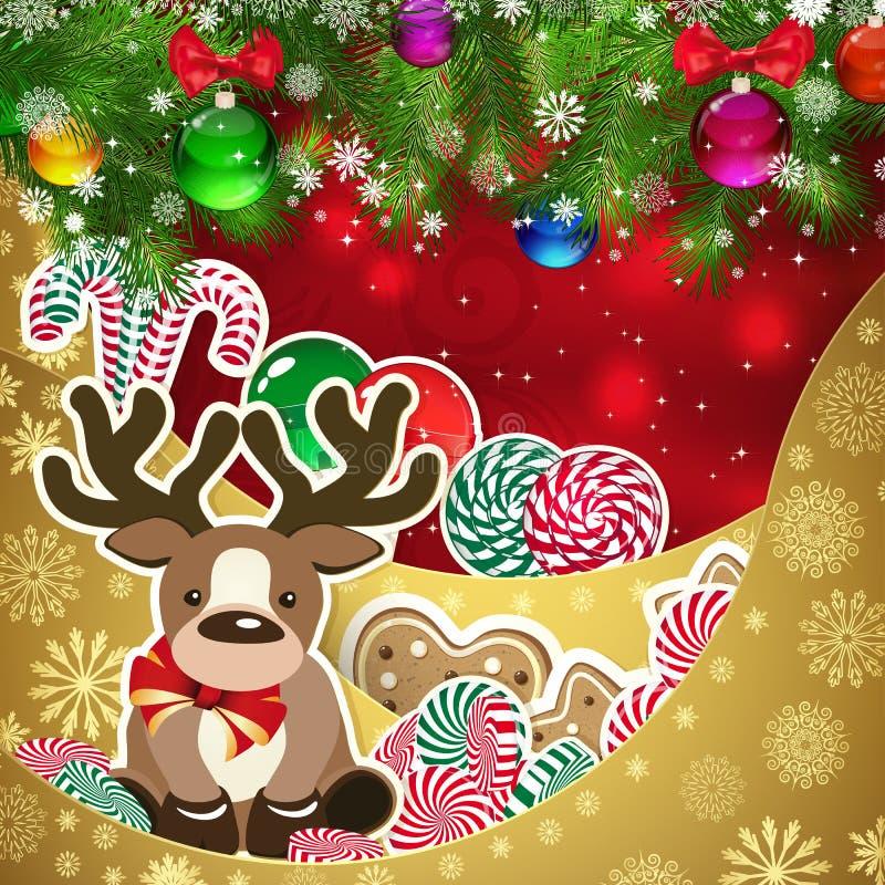 Cervos no fundo dos doces, farelo decorado das bolas do Natal ilustração royalty free