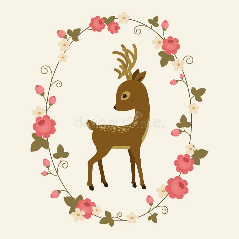 Cervos pequenos em uma grinalda da rosa ilustração royalty free