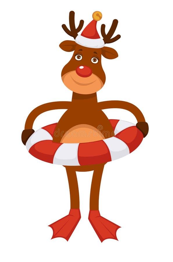 Cervos polares no chapéu do Natal, no círculo nadador e em aletas vermelhas ilustração stock