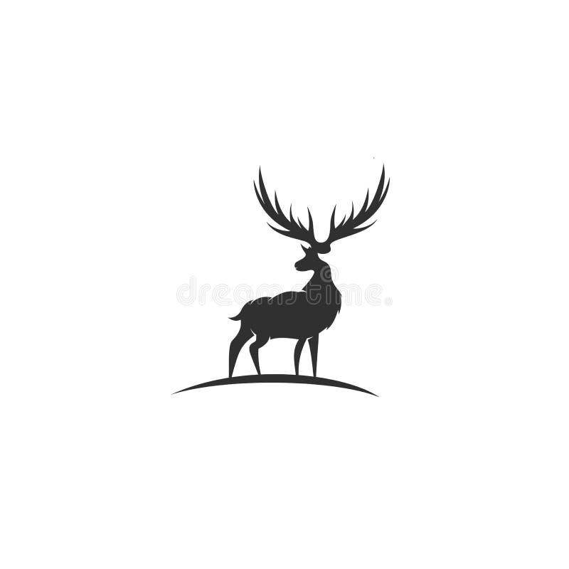Cervos pretos com grande ilustração do vetor do chifre ilustração stock