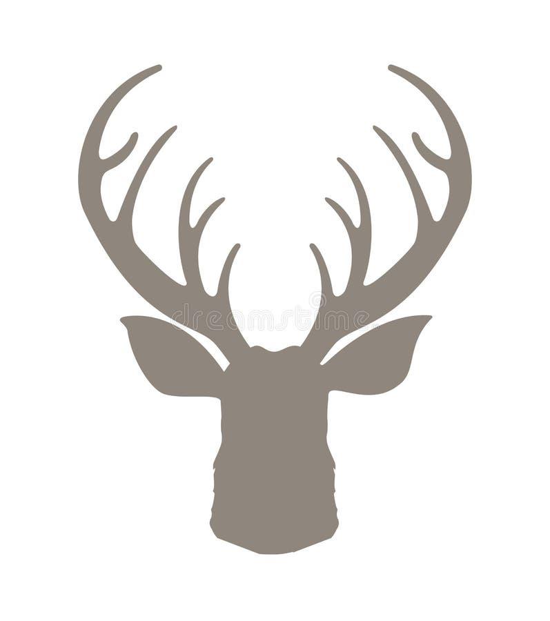 Cervos principais mostrados em silhueta Rena com ilustração do vetor dos chifres Ícone do moderno dos cervos Projeto estilizado t ilustração royalty free