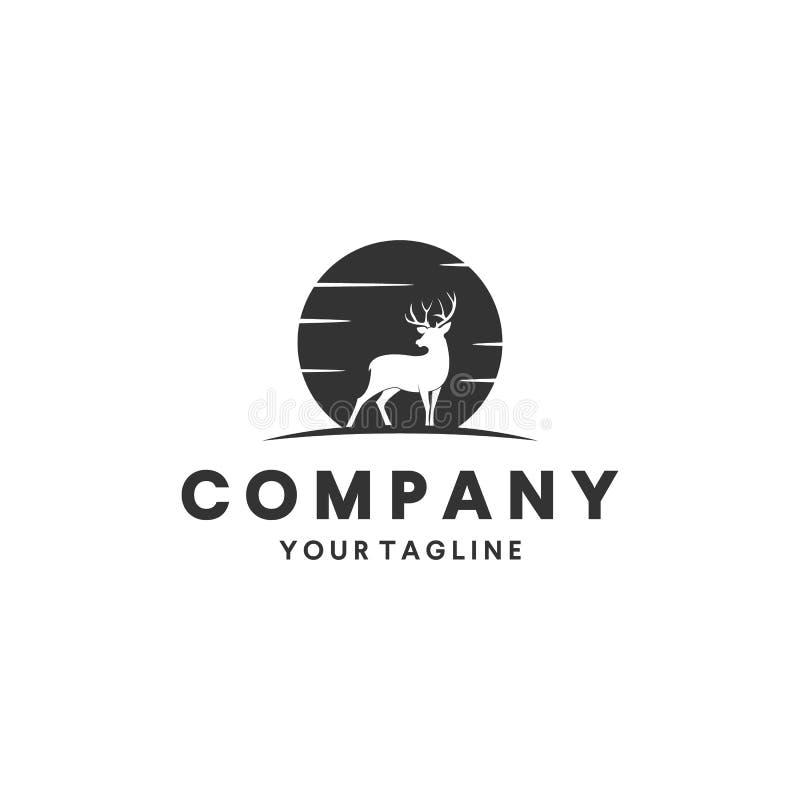 Cervos que caçam a inspiração do projeto do logotipo ilustração royalty free