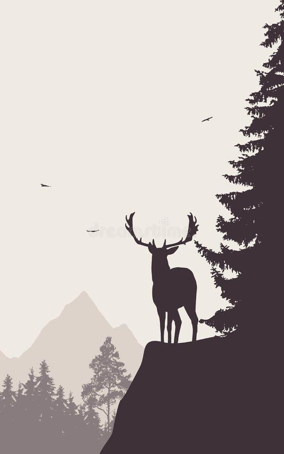 Cervos que estão na parte superior da montanha e que olham no va ilustração do vetor