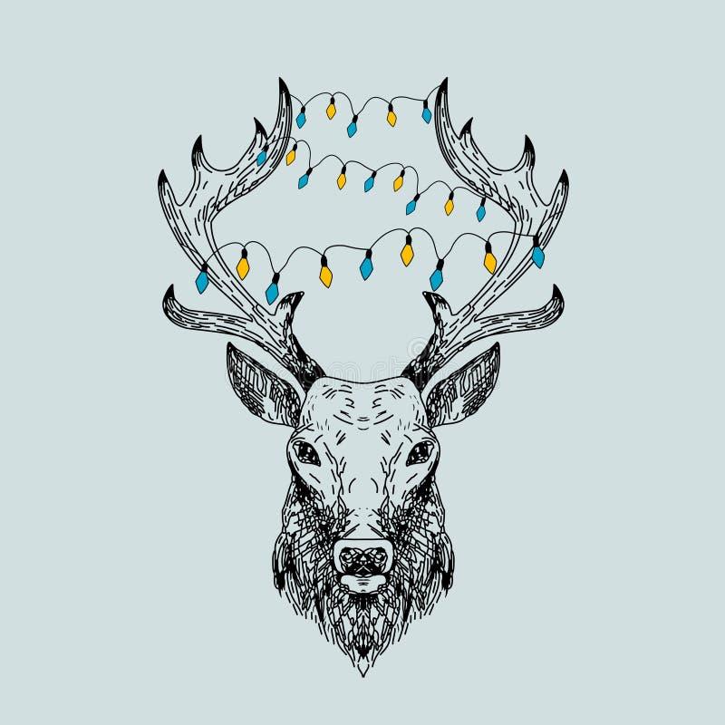Cervos selvagens tirados mão do vetor ilustração royalty free
