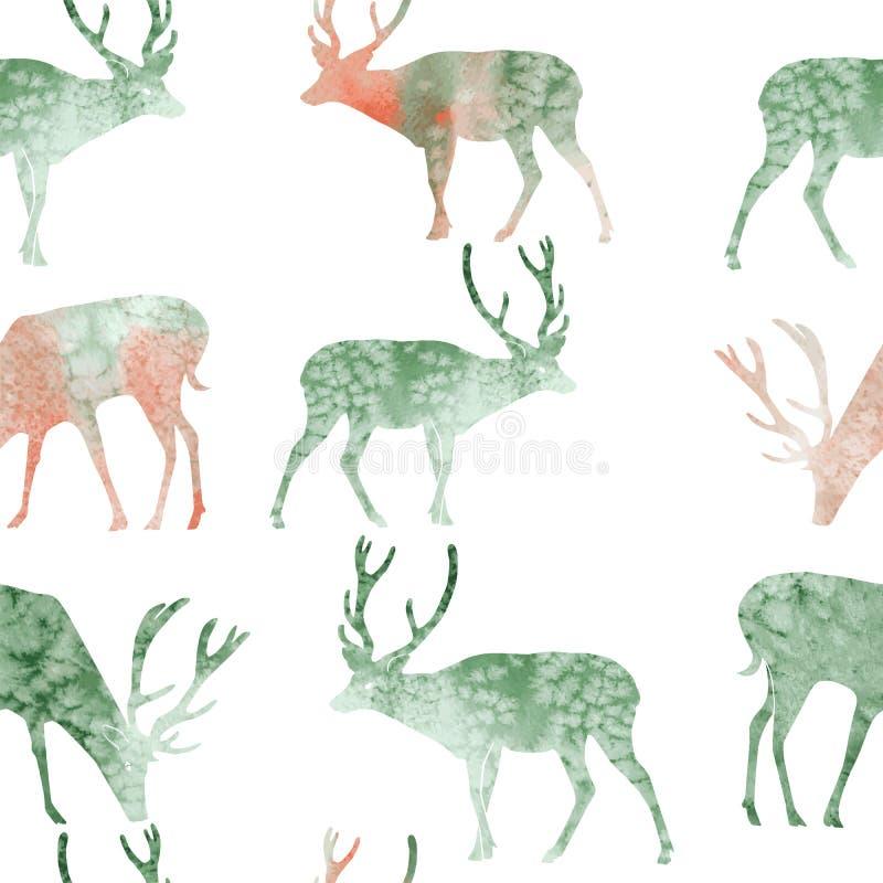 Cervos sem emenda da aquarela da ilustração do teste padrão fotografia de stock