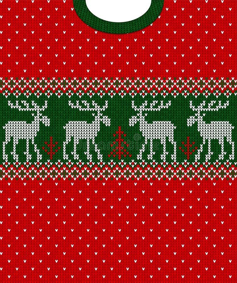 Cervos sem emenda do escandinavo do quadro da beira do teste padrão do ano novo do Feliz Natal fotografia de stock