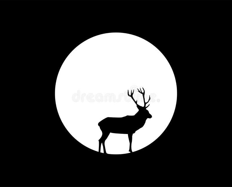 Cervos sob a lua ilustração royalty free