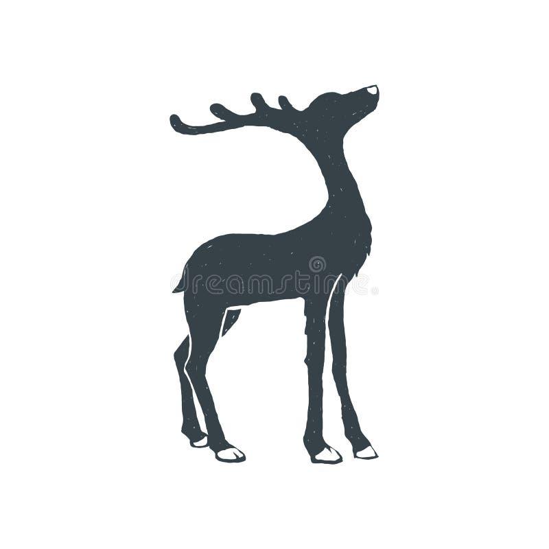 Cervos tirados mão do vintage Estilo do esboço Natal Ilustração do vetor Cópia do t-shirt poster Isolado no branco ilustração do vetor