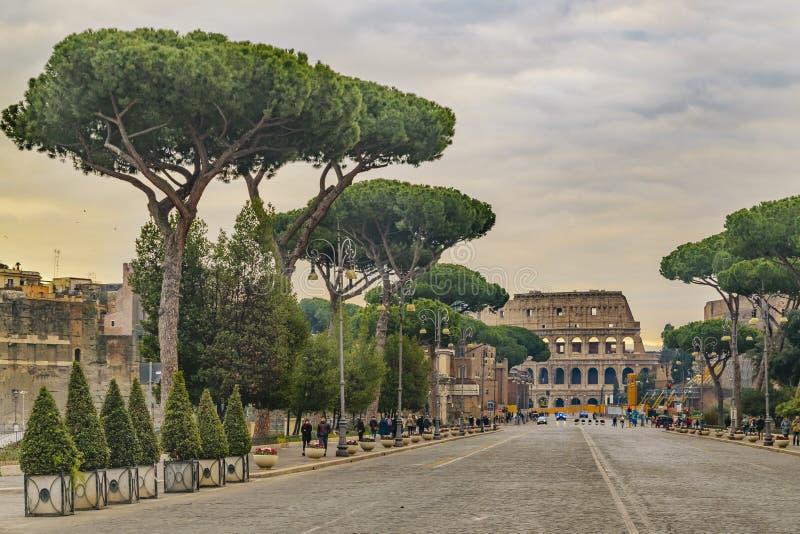 Cesarska forum ulica, Rzym, Włochy zdjęcia royalty free