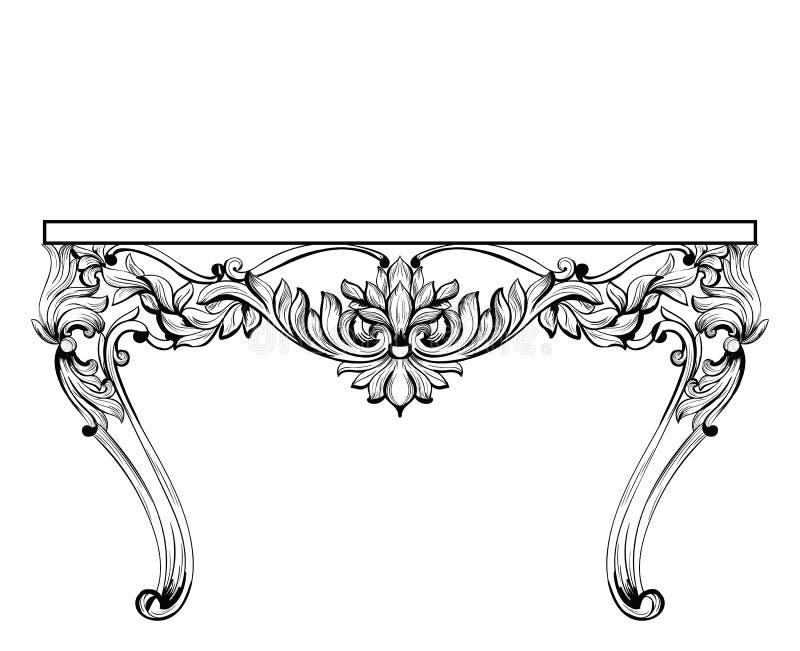 Cesarski Barokowy klatka piersiowa stół Wektorowa Francuska Luksusowa bogata w zawiły sposób zdobna struktura Wiktoriański Królew ilustracja wektor