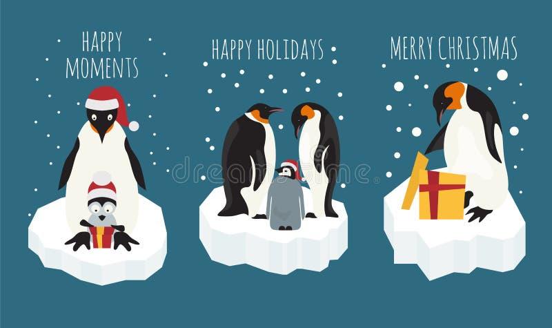 Cesarski pingwin na lodowego floe majcheru ikony secie elementy dla royalty ilustracja