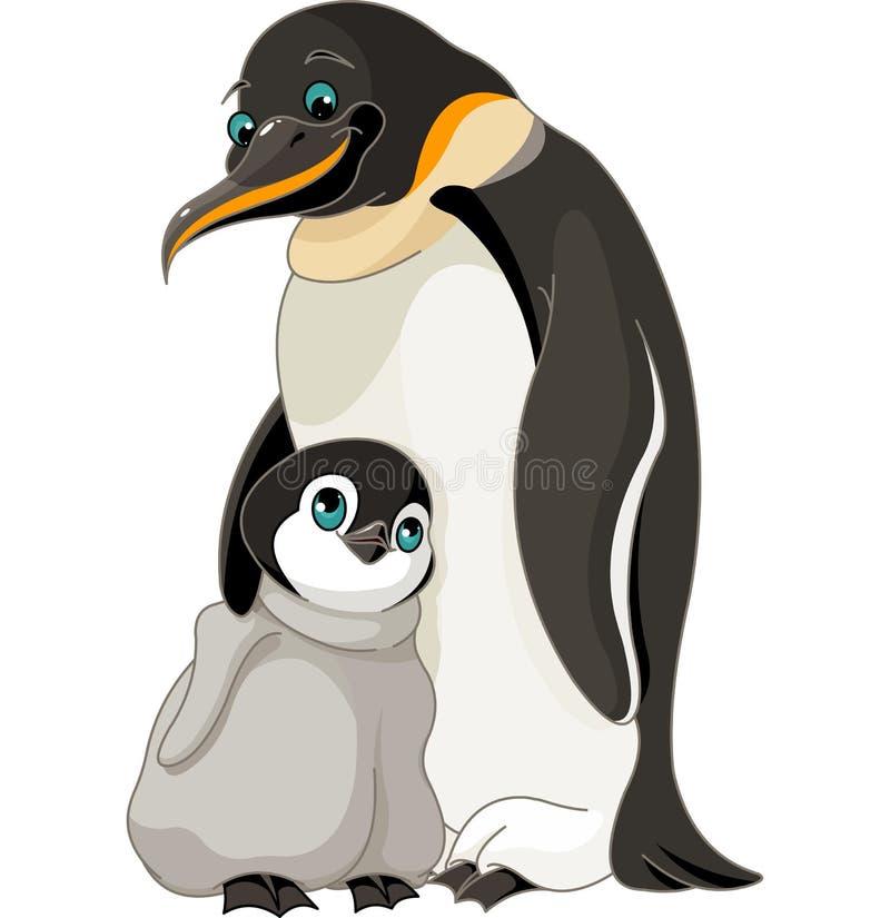 Cesarza pingwin Z kurczątkiem ilustracja wektor