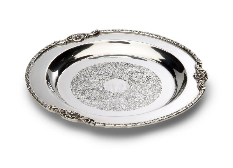 Cesellato intorno al vassoio di piatto d'argento immagini stock