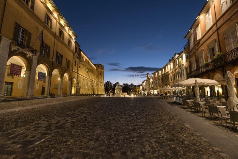 Cesena Italië: het kasteel bij avond royalty-vrije stock foto's