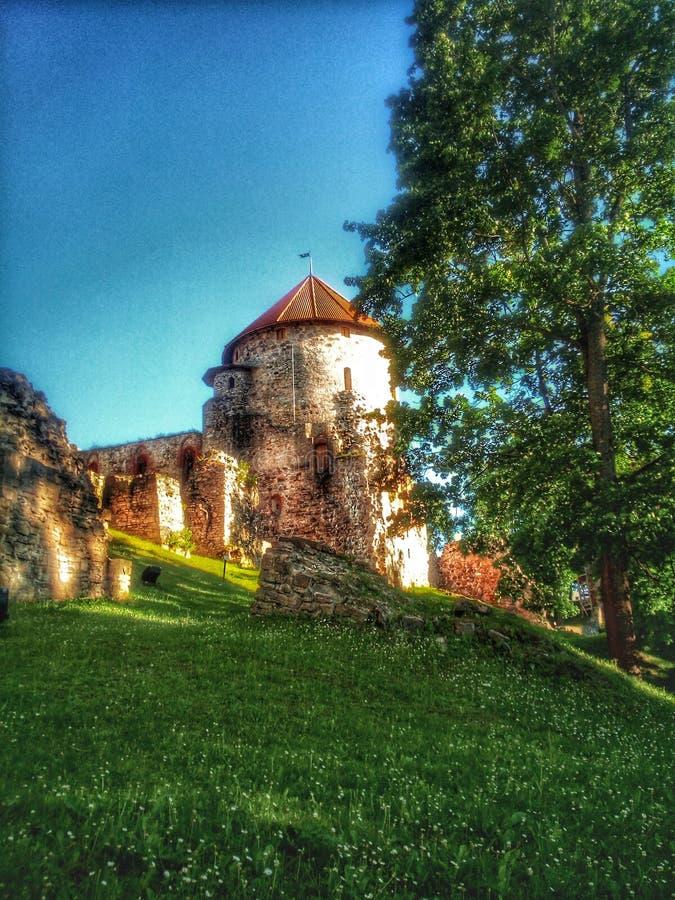 Cesis城堡在拉脱维亚,欧洲 库存照片