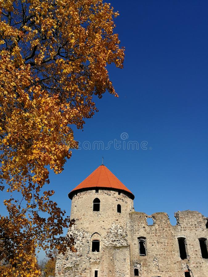 Cesis castle roof in sunny autumn day, Latvia. Cesis, ruins, remains, tower, blue sky, yellow, leaves, seasonal, travel, discover, visit, latvia, europe royalty free stock photos