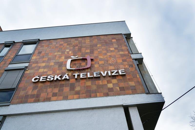 Ceska televize public television broadcaster logo on headquarters building. PRAGUE, CZECH REPUBLIC - MARCH 9 2018: Ceska televize public television broadcaster stock images