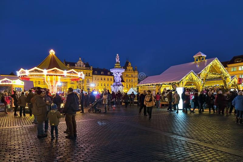 Christmas market in Ceske Budejovice, Czech Republic. Ceske Budejovice, Czech Republic. Christmas market at the Premysl Otakar II Square around the Samson royalty free stock photo